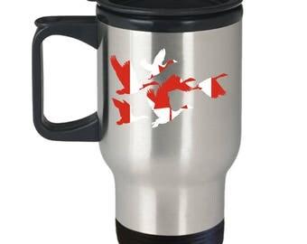 Canada Goose Coffee Travel Mug Canadian Flag Geese In Flight