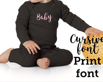 Baby boys/girls long bodysuit personalized with name or monogram