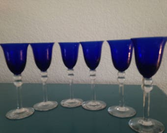 Set of 6 gorgeous Cobalt cordial glasses