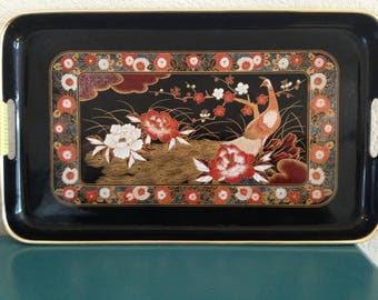 Chinese black lacquer serving tray