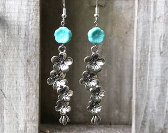 Silver Earrings Dangle Earrings Bohemian Earrings Turquoise Earrings Boho Jewelry Gypsy Earrings Czech Glass Earrings Flower Earrings