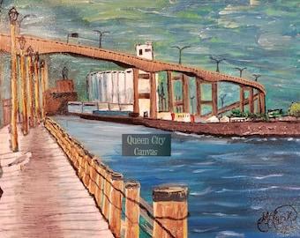 Buffalo Skyway / original acrylic on canvas