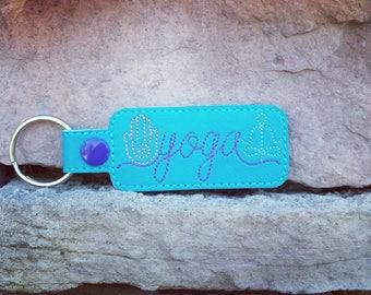 Yoga Keychain, Key Fob, Yoga Gifts, Zipper Pull