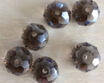 Faceted grey abacus glass beads