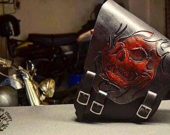 Handmade Leather Saddlebag Skull V3 Bobber Chopper Harley Davidson