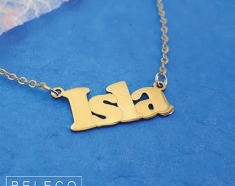 Bold Font Name Necklace, 15 Font Style To Choose, Bold Font, Name Necklace, Any Name, Personalized Name Necklace, Gold Plated 18k