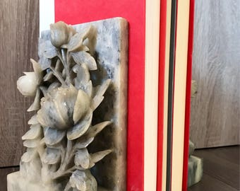 Vintage Mid Century Hand Carved Floral Marble Bookends | Roses