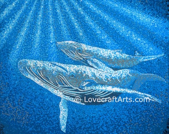 Whales - Surfacing, Canvas Print