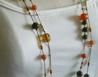 Art Glass Beads Necklace/ Art Necklace/ Vintage Jewellery