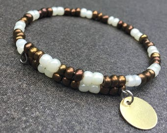 Beaded Memory Wire Bracelet, Brown and Cream, Initial Charm, 1 Coil
