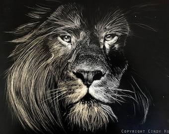 """ORIGINAL Art Scratchboard Lion 8x10"""""""
