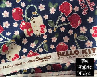 KOKKA- Hello KItty Cherryland With Navy Blue Background By the Yard