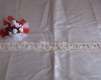 Ivory Rhinestone Flower Beaded Straight Edge Lace
