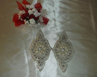 Silver/Rhinestone/Pearl Sew On Eye Pieces