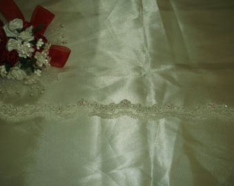 Ivory Silver Beaded Corded Flower Lace