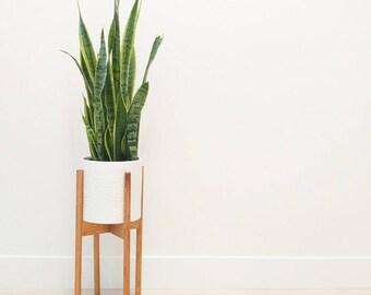 Handmade Midcentury Modern Wooden Plant Stand
