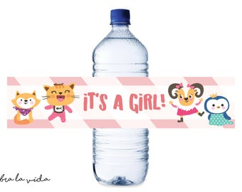 Instant Download Water Bottle Label. Baby Shower Decor/Favors. Printable Girl Shower Water Bottle Label. Pink