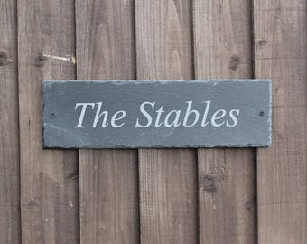 Engraved Oblong Slate House Sign