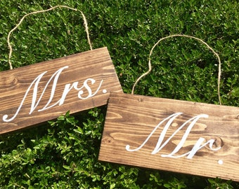 Bride and Groom / Mr. and Mrs. Chair Signs