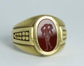 Kieselstein-Cord Carnelian Intaglio Ring (18K Gold) Size 6
