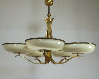 German ceiling lamp pendant lamp Art Deco glass plate & brass-40s 50