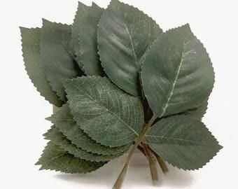 6 Leaf Stems. Green Leaves. Leaf Appliques. Leaf Spray. Leaf Trio