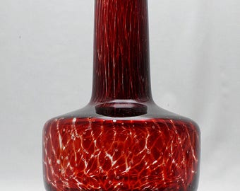 Vintage Art Glass Cased Striped Vase