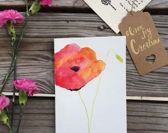 Watercolor poppy series card #5