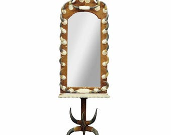 antique bull horn mirror with console table, austria 1870