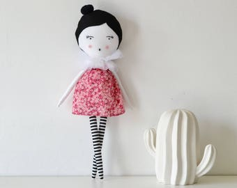 Cloth doll / pink and white rag doll