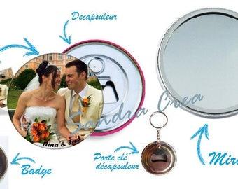 personalized, mirror, bottle opener, badge, door key choice