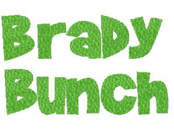 brady bunch embroidery font PES file 2 inch design machine embroidery instant download
