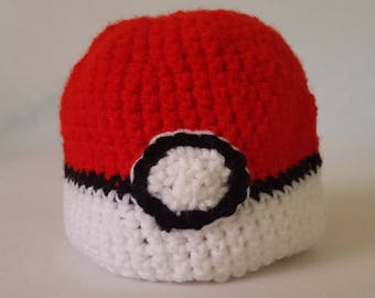 Crochet Pokemon Pokeball Baby Hat - 8 sizes