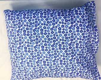 Blue and white flower pillow