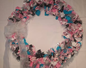 Pink and Blue Cloth Wreath