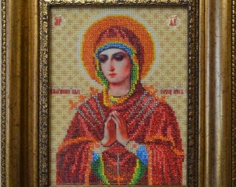 """Handmade Icon embroidered with beads 8""""х 7"""""""