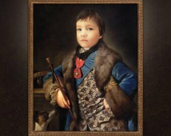 Boy Portrait, Kid Victorian Portrait, Child Painting, free shipping!