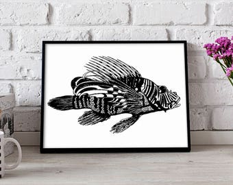 Lionfish Fish poster, Lionfish wall art, Nautical poster, Lionfish wall decor, Lionfish print, Gift poster