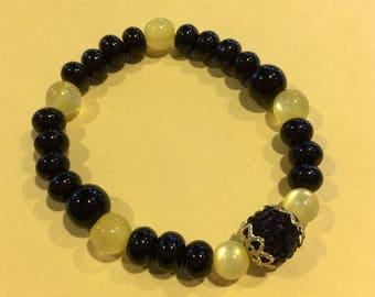 Cat Eye & Black Bracelet/w Black Crystal Rhinestone Disco Pave