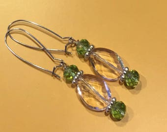 Clear & Green Crystal Candy Dangled Earrings