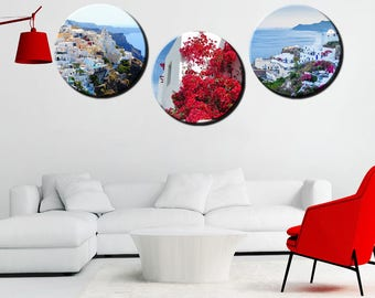 Greece round canvas art, circle wall art design, landscape wall art design, santorini canvas prints, Santorini photo canvas
