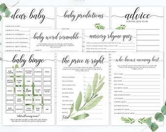 Green Leaves Baby Shower Package Set of Shower Games Baby Shower Keepsake Cards Baby Bingo Printable The Price is Right Game Rustic Game GL1