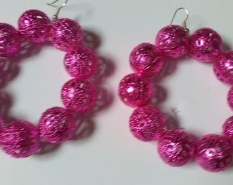 Spring pink button hoop