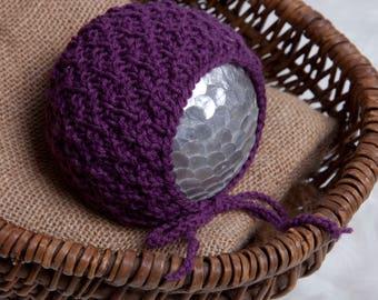 Jackie Newborn Bonnet, Knit PDF Pattern, Newborn Hat Pattern, PHOTO shoot prop, Knit, Sport Weight 2, PDF, Newborn hat