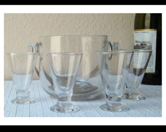 Vintage Glass Ice Bucket with Metal Handle and drain. Set of 4 Cordial Glasses.