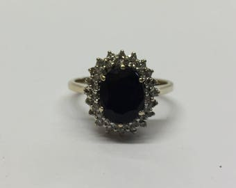 9ct Gold Dark Sapphire And Diamond Cluster Ring