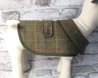 Small Dog Coat Tweed Wool Check Tartan Waterproof Jacket