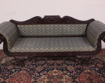 3 seater sofa, boat, mid ' 900 in inlaid wood