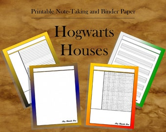 Hogwarts Houses: 20 Printable Note Taking Templates   Dot Grid Paper, Music  Staff Paper