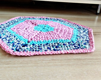 Pink and blue rug, Rug, area rug, braided rug, rainbow rug, carpet for kitchen, bath Mat, carpet, housewarming, decorative rugs, dog cat bed